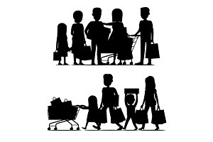 Family Making Purchases Silhouette Vector Set