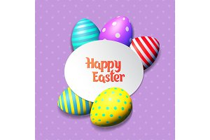 Happy Easter eggs and text on colored background with frame vector illustration