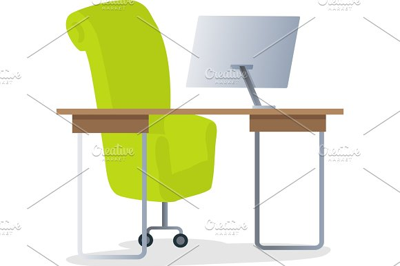 Workplace With Computer Vector Illustration