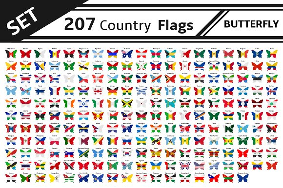 Set 207 Country Flag Butterfly