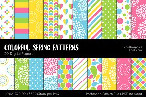 Colorful Spring Digital Papers