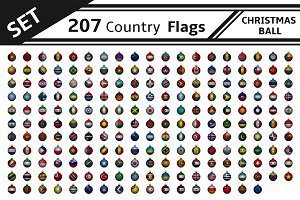 set 207 country flag christmas ball