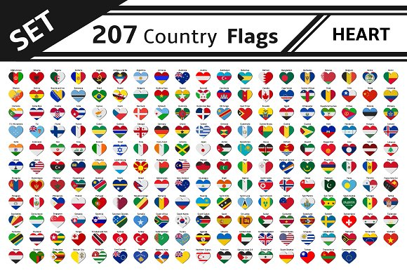 Set 207 Country Flags With Heart
