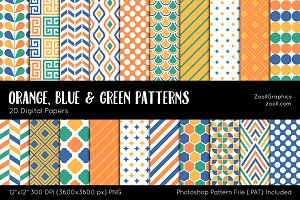 Orange, Blue & Green Digital Papers