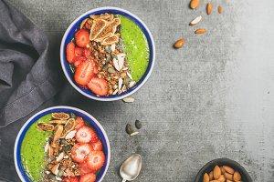 Healthy green smoothie breakfast
