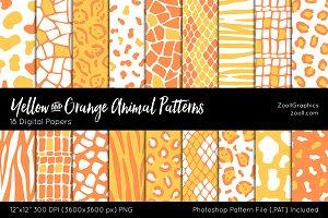 Yellow-Orange Animal Digital Papers