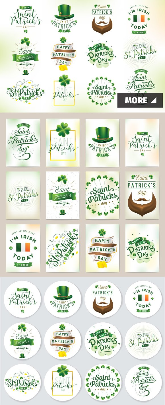 Patrick's Day Typography Cards