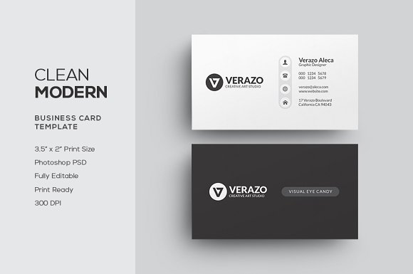 Clean Modern Business Card Business Card Templates Creative Market
