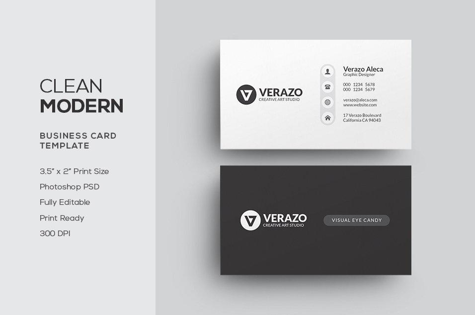 Clean modern business card business card templates creative market reheart Gallery