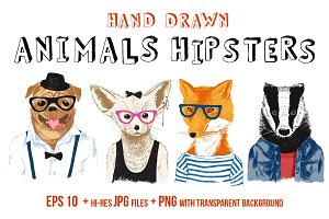 Hand drawn animals hipsters