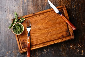 Empty cutting board for meat