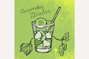 Hand Drawn Cucumber Water Image