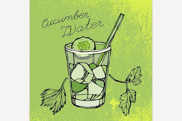 Hand Drawn Cucumber Water Image