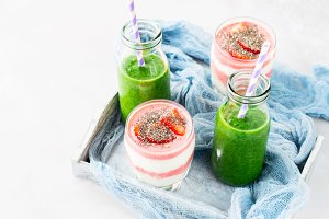 Healthy food concept green smoothie yogurt fruit chia breakfast