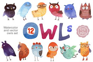 12 owls. Vector and watercolor set