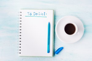 To do list page flat lay and cup of coffee background