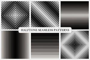 Halftone seamless striped patterns.