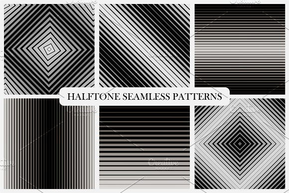 Halftone Seamless Striped Patterns
