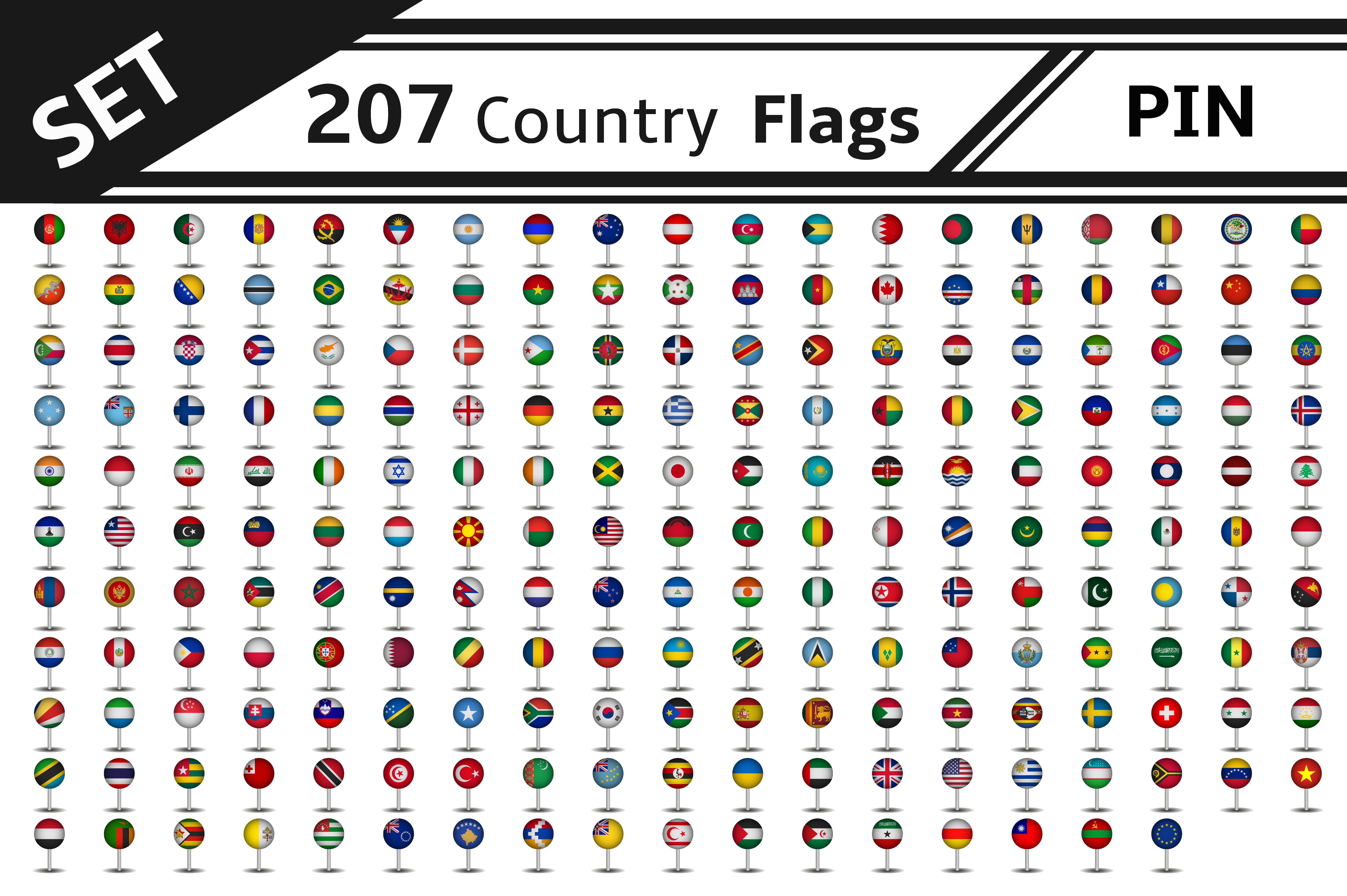 set 207 country flag pin ~ Illustrations ~ Creative Market
