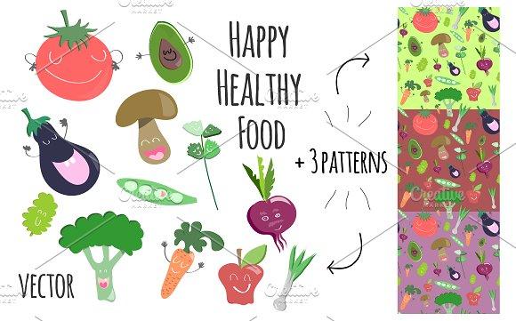 Happy Healthy Food Vector