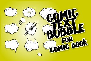 Comic book cartoon cloud balloon set