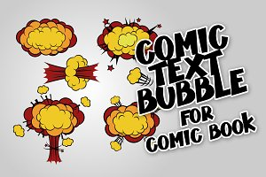 Comic book cartoon explosion cloud set