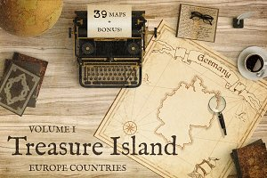 Treasure Island. Europe Pirate Maps
