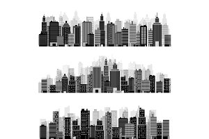 Vector illustration. Set of city silhouettes. Cityscape. Town skyline. Panorama. Midtown houses. Skyscrapers.