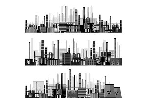 Vector illustration. Industry. Power plant. Factory. Industrial silhouettes. Engineering, construction. Gas and oil.
