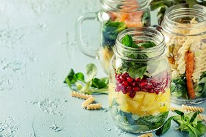 Salads in mason jars
