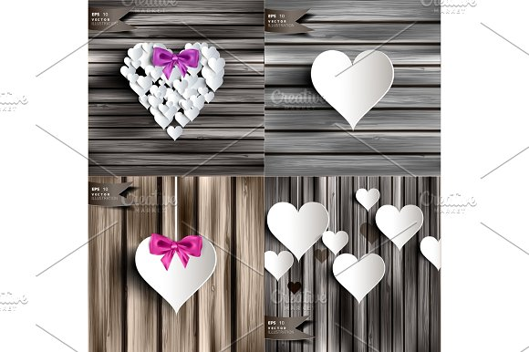 Valentines Day Abstract Cards With Paper Hearts Love Heart