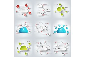 Cloud computing. Vector illustration. Infographics set. Technology. Services.