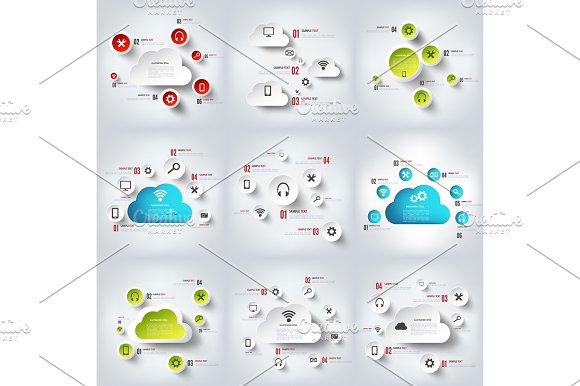 Cloud Computing Vector Illustration Infographics Set Technology Services