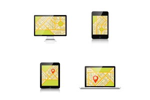 Navigation background with monitor, laptop, tablet, smartphone and map.Responsive web design. Adaptive user interface.