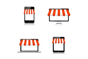 Internet shopping concept. Realistic tablet, smartphone, laptop and monitor. E-commerce. Online store. Web money, payments. Pay per click.