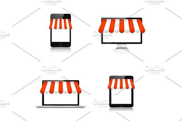 Internet Shopping Concept Realistic Tablet Smartphone Laptop And Monitor E-commerce Online Store Web Money Payments Pay Per Click