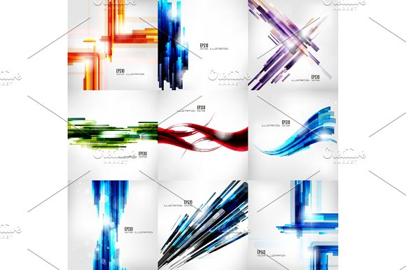 Set With Abstract Lined Banners Digital Lines Stripes