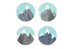 Vector illustration. Winter landscape. Mountaines with snow. Flat. Christmas, new year. Season.