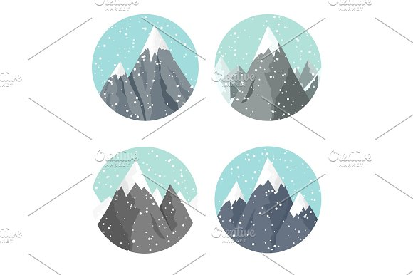 Vector Illustration Winter Landscape Mountaines With Snow Flat Christmas New Year Season