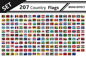 set 207 country flag wind effect