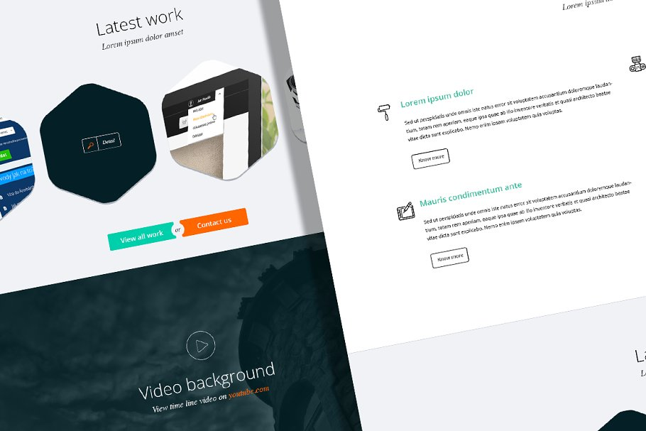 One page minimalist PSD theme in Landing Page Templates - product preview 8