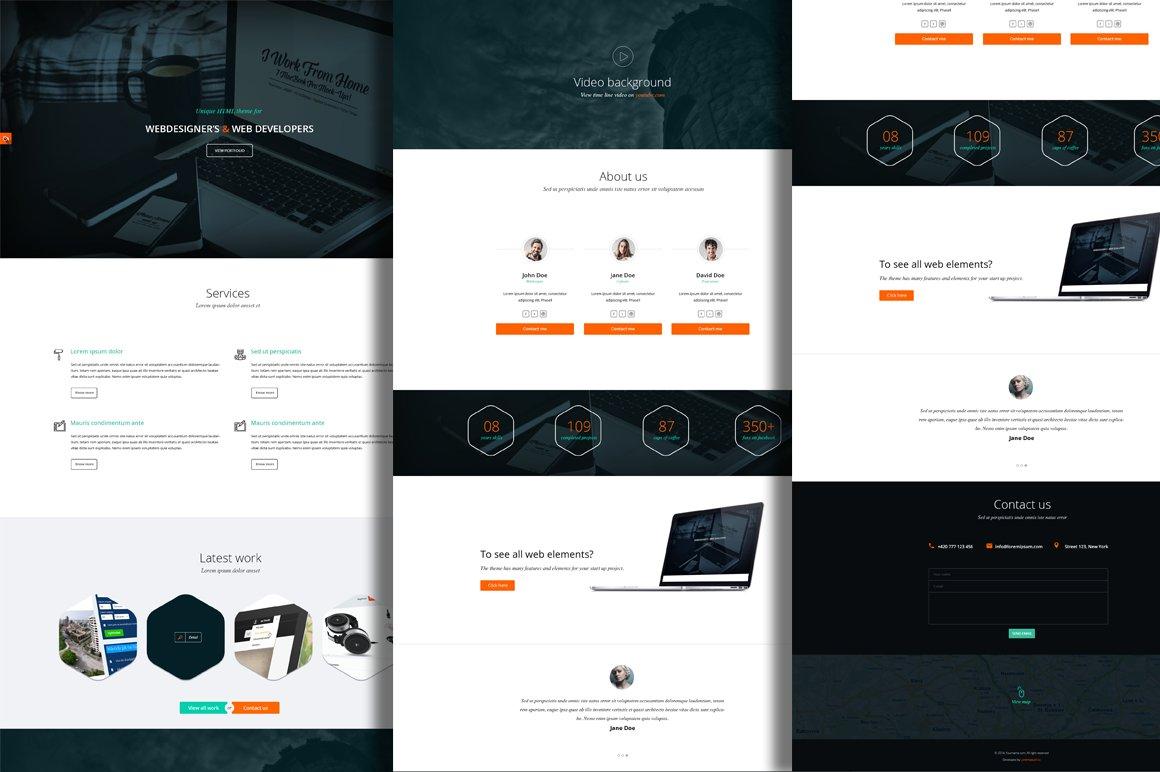 One Page Minimalist Psd Theme Website Templates Creative Market
