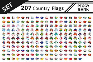 set 207 country flags piggy bank