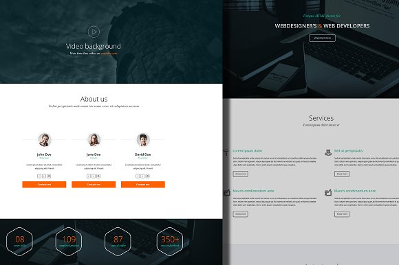 One page minimalist PSD theme in Landing Page Templates - product preview 2