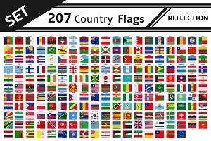 set 207 country flags reflection