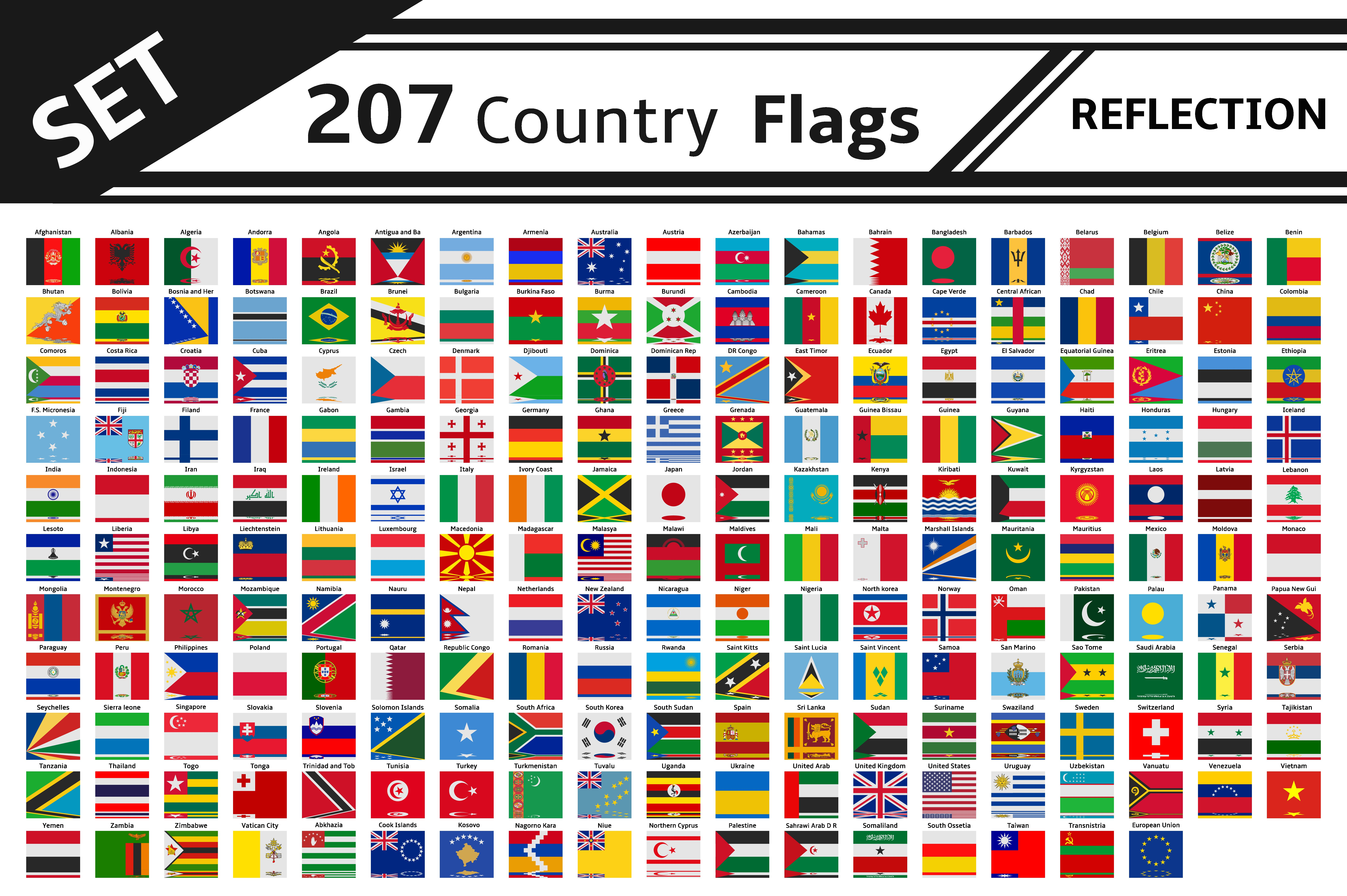 set 207 country flags reflection illustrations creative market