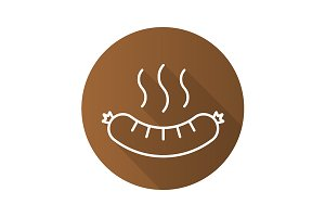 Steaming sausage icon. Vector