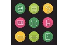 Furniture. 9 icons. Vector