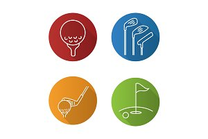 Golf. 4 icons. Vector