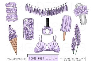 Lavender Glitter Elements Clip Art